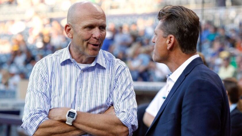 SAN DIEGO, June 28, 2016 | Padres President and CEO Mike Dee, left, with former Padres pitcher Trevo