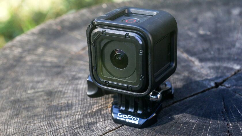 FILE - This Nov. 11, 2015 file photo shows the GoPro HERO4 Session action camera in Decatur, Ga. Act