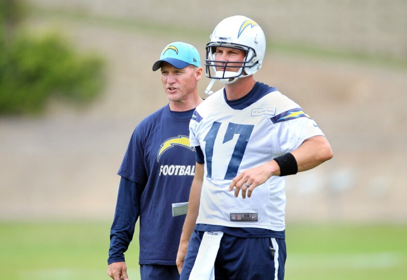 Chargers offensive coordinator Ken Whisenhunt, left, walks with quarterback Philip Rivers.