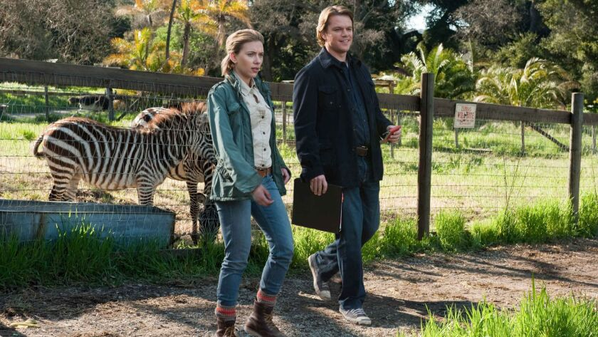 In this film image released by 20th Century Fox, Scarlett Johansson, left, and Matt Damon is shown i