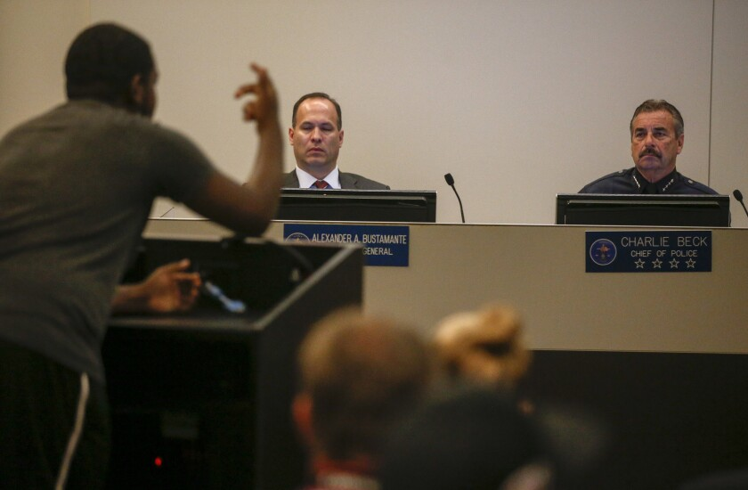 A protester speaks at the L.A. Police Commission