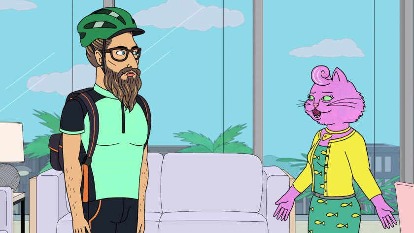 "Talent agent Princess Carolyn (right), voiced by Amy Sedaris, meets with her former assistant, Judah, voiced by Diedrich Bader, in the new season of ""BoJack Horseman."""