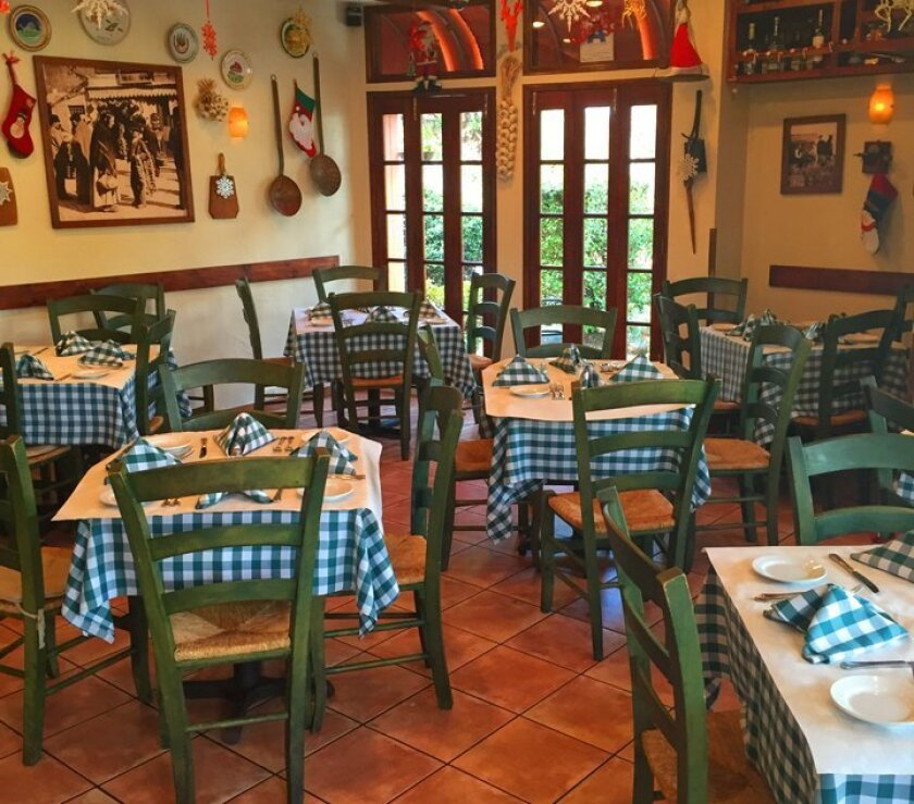 The dining room at Osteria Romantica in La Jolla has a homestyle, comfortable feel with large, glass-windowed doors. Walls are adorned with vintage photos, decorative plates, cooking utensils and garden-watering pots.