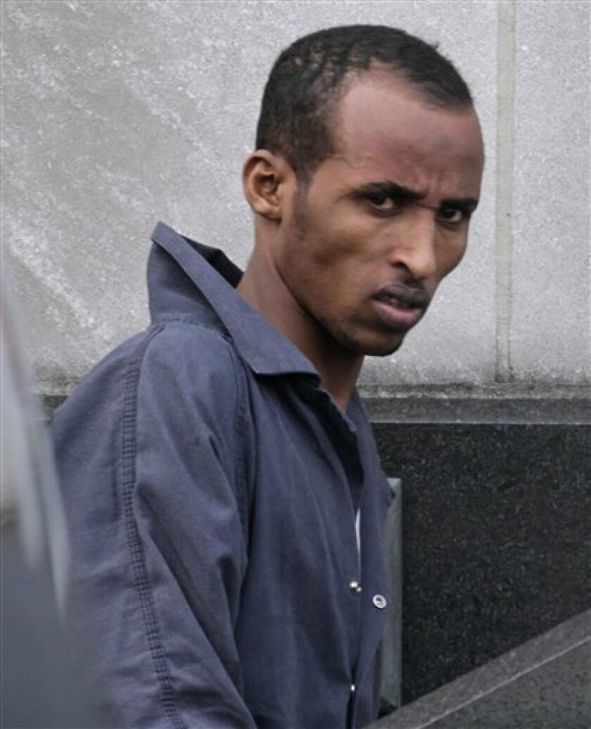 Gabul Abdullahi Ali arrives at the the federal courthouse in Norfolk, Va., on Wednesday, Nov. 10, 2010. He is being tried on piracy and related charges for the April 1, 2010 attack on the USS Nicholas, a Norfolk-based frigate, off the coast of Africa. (AP Photo/Steve Helber)