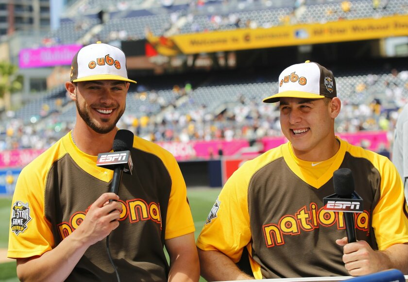 Cubs Kris Bryant and Anthony Rizzo do an interview at the All-Star Game practice at Petco Park.
