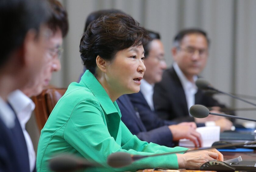 South Korean President Park Geun-hye speaks during a regular meeting of government officials at the presidential house in Seoul on Monday.