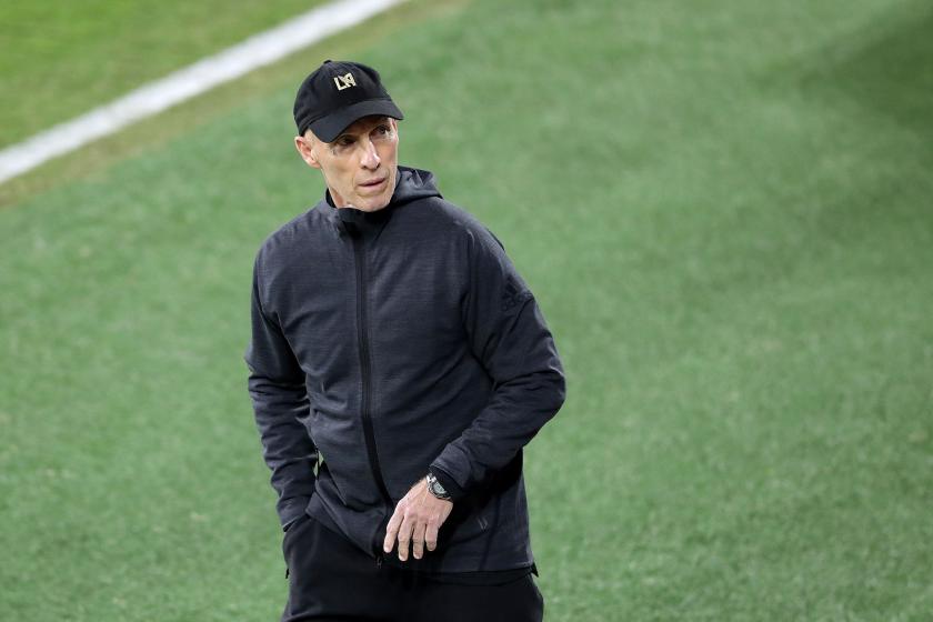 LAFC coach Bob Bradley reacts to a call.