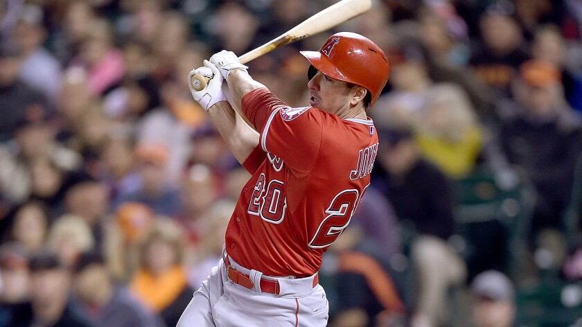 Angels left fielder Matt Joyce hits a run-scoring single against the San Francisco Giants on May 1, after getting to the AT&T Park in plenty of time for the 7:15 p.m. start.