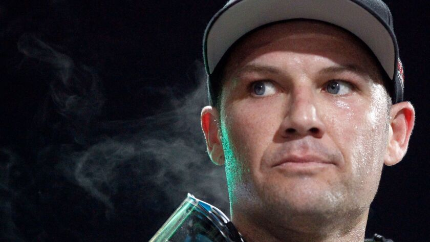 Steam comes off Chad Reed after he came in second in the 450SX Main Event.