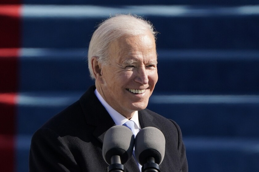 President Joe Biden speaks during his inauguration at the U.S. Capitol in Washington D.C. Wednesday .