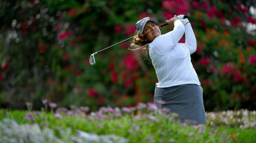 Lizette Salas tees off the 14th hole during Round Three of the LPGA KIA CLASSIC at the Park Hyatt Aviara golf course on March 24, 2018 in Carlsbad, California.