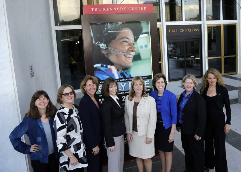 Sally Ride became the first U.S. woman in space in 1983, and more than three decades later Eileen Collins became the first woman to pilot an American spaceship. Above: Astronauts Cady Coleman, Kathy Sullivan, Sandy Magnus, Bonnie Dunbar, Kay Hire, Ellen Ochoa, Pam Melroy, and Julie Payette, pose before a tribute to Sally Ride at the John F. Kennedy Center for the Performing Arts in Washington, D.C.