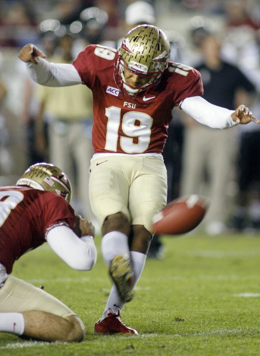 FILE - In this Nov. 23, 2013, file photo, Florida State kicker Roberto Aguayo (19) ties an FBC record of 78 consecutive extra points in a season with an extra point in the fourth quarter of an NCAA college football game against Idaho in Tallahassee, Fla. Aguayo has taken 201 kicks in his first two Florida State seasons and made 197 of them. He is on pace to become the most accurate kicker in the history of big-time college football and it would seem a high draft pick would await him next year if he skips his senior season and heads to the NFL. (AP Photo/Phil Sears, File)