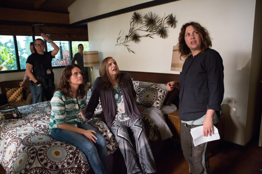 """Jill Soloway, right, directs the cast of Amazon's """"Transparent."""""""