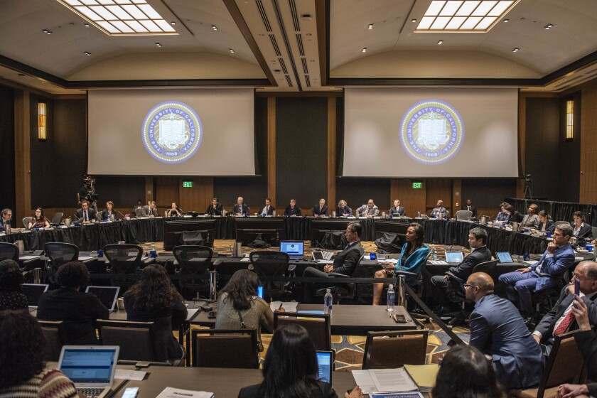 The UC Board of Regents seen at a 2018 meeting at UCLA. On Thursday they discussed a potential plan for moderating tuition increases.