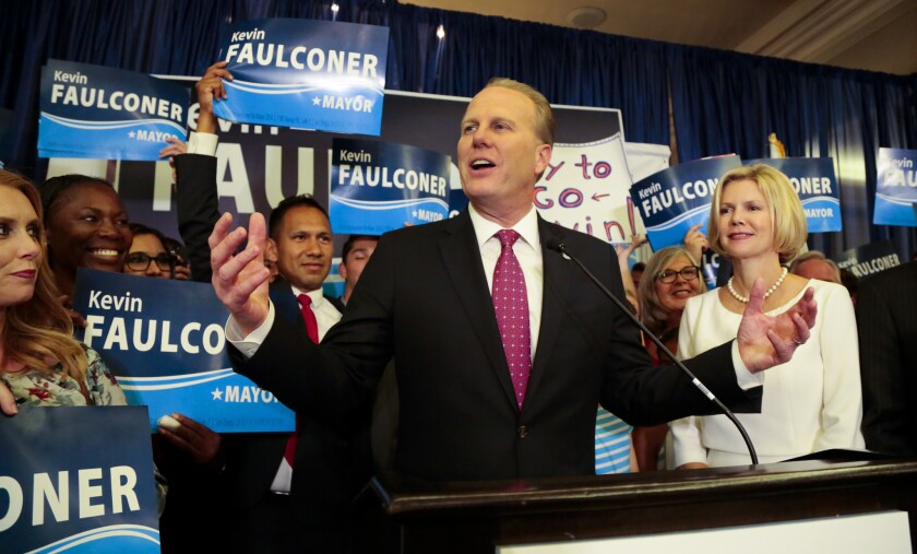 As ballots were still being counted, San Diego Mayor Kevin Faulconer, candidate for re-election thanked supporters  at the US Grant Hotel on election night. Returns were showing Faulconer with about