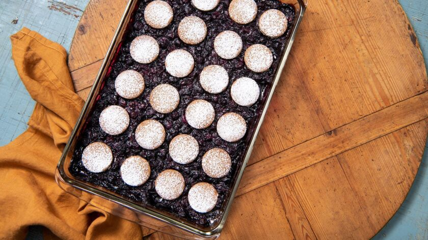 LOS ANGELES, CA-June 6, 2019: Blueberry Bars cooked and styled by Genevieve Ko, prop styled by Joni