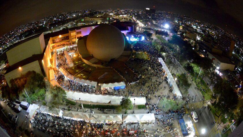 Crowds gathered last October Entijuanarte festival surround the Tijuana Cultural Center.