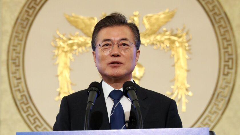 South Korean President Moon Jae-in holds a news conference at the Blue House presidential residence to celebrate his 100th day in office.