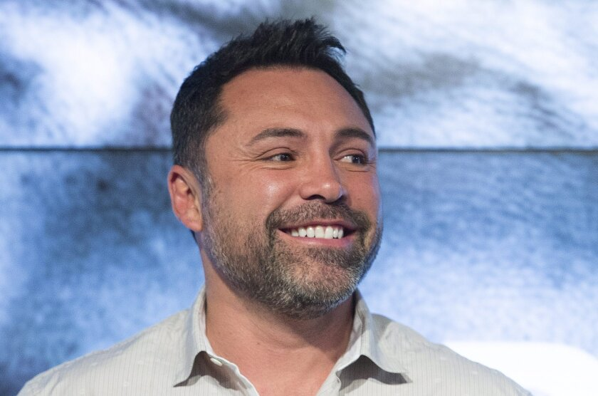 Boxing great Oscar De La Hoya attends the weigh-in of David Lemieux and Hassan N'Dam in Montreal on June 19.