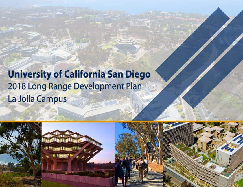 UCSD's Long Range Development Plan identifies student, faculty and staff growth projections; describes development objectives; delineates campus land uses; and estimates new building space expansion through the 2035-36 academic year. It can be viewed at lrdp.ucsd.edu