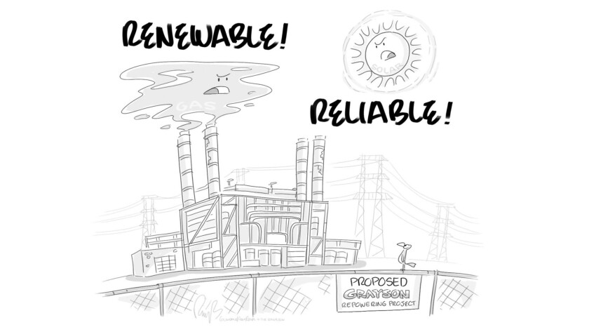 """Final cartoon """" Grayson Power Plant"""" to be published in GNP on 4-7-18. (Bert Ring)"""