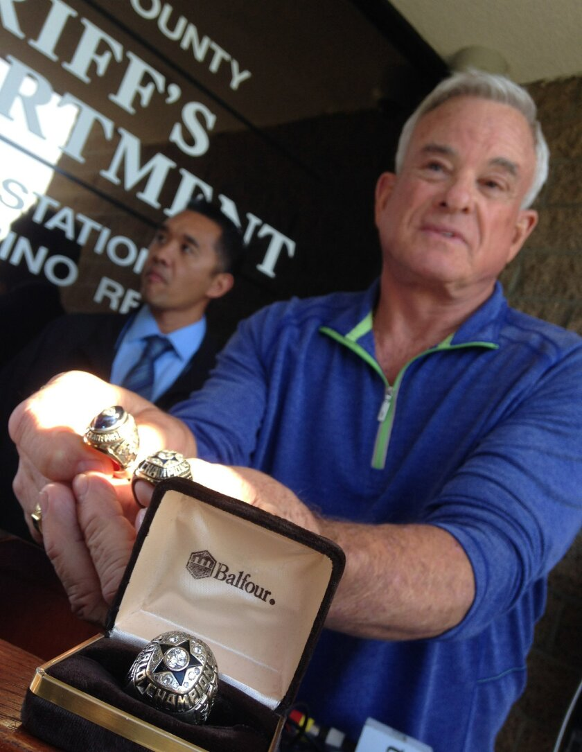 Former Charger wide receiver Lance Alworth shows off the 1971 Super Bowl ring he won as a Dallas Cowboy. The ring was stolen in 1992 and returned to him on Oct. 29, 2013.