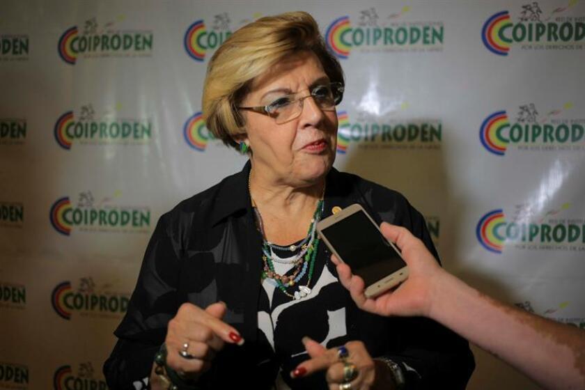 Esmeralda Arosemena de Troitiño, relatora de la niñez de la Comisión Interamericana de Derechos Humanos (CIDH), durante una entrevista con los medios de comunicación. EFE/Archivo