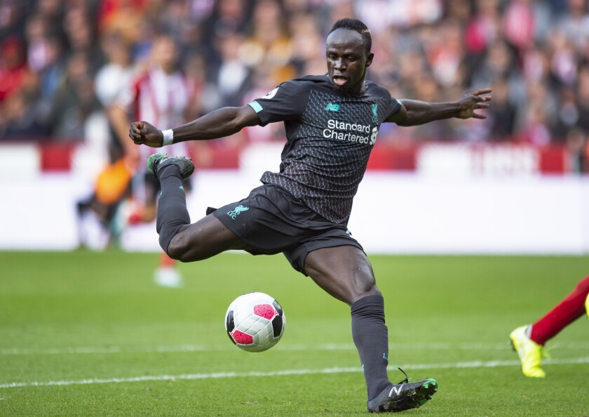 Liverpool's Sadio Mane competes against Sheffield United on Sept. 28.