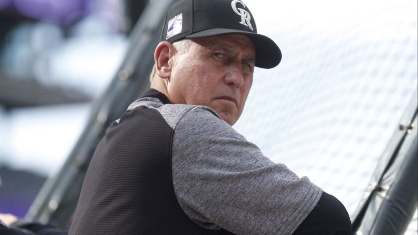 Colorado Rockies manager Bud Black looks on during batting practice before a baseball game against the Washington Nationals on Saturday in Denver.