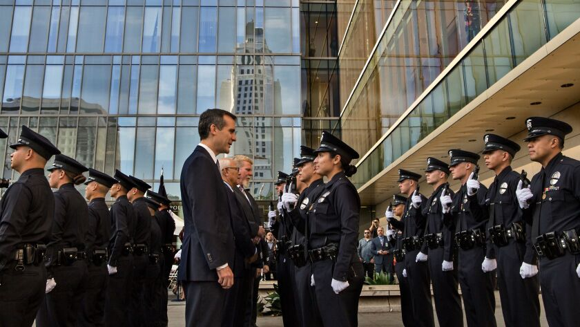 LOS ANGELES, CA. OCTOBER 31, 2014 --- Los Angeles Mayor Eric Garcetti inspects a recruit class durin