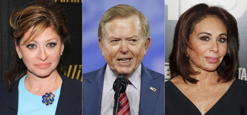 This combination photo shows Maria Bartiromo in New York on April 6, 2016, from left, Lou Dobbs at the Conservative Political Action Conference (CPAC) in Oxon Hill, Md. on Feb. 24, 2017 and Jeanine Pirro in New York on Jan. 28, 2015. Fox News personalities Bartiromo, Dobbs and Pirro are seeking the dismissal of claims against them and their employer as part of a $2.7 billion libel lawsuit brought by the voting technology company Smartmatic. (AP Photo)