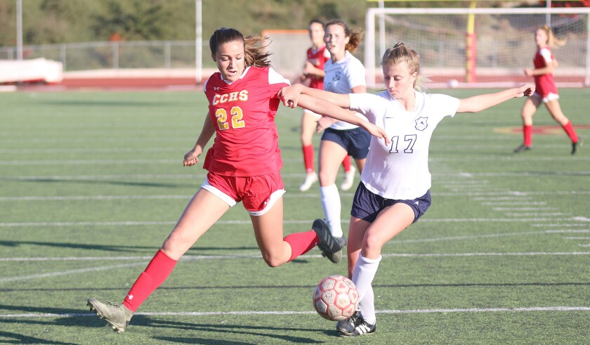 Junior Sophia Aragon (22) assisted on Cathedral Catholic's first goal.