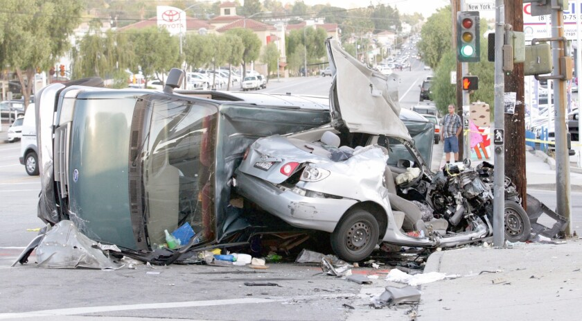 A file photo from 2015 shows a rollover crash near the intersection of New York Avenue and Foothill Boulevard.
