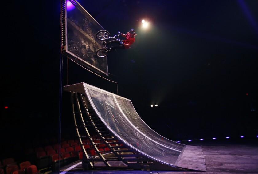 "Victor Salazar practices tricks for Cirque du Soleil's ""Volta"" show at the Del Mar Fairgrounds"