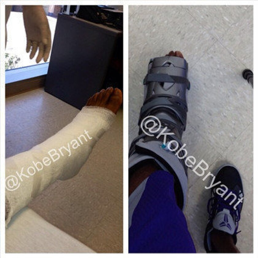 Kobe Bryant posted this split image on Instagram showing his foot; he will wear the boot as he recovers from surgery to repair a torn Achilles' tendon.