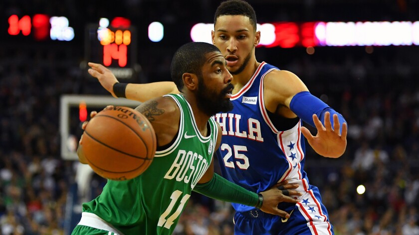 Guards Kyrie Irving (11) of Boston and Ben Simmons (25) of Philadelphia will be favored to make the Eastern Conference finals this season.