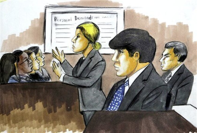 In this courtroom sketch, former Illinois Gov. Rod Blagojevich, center, and his brother Rob, right, listen to U.S. Attorney Carrie Hamilton present the government's case against the brothers during their federal corruption trial Tuesday, June 8, 2010 in Chicago. (AP Photo/Verna Sadock)