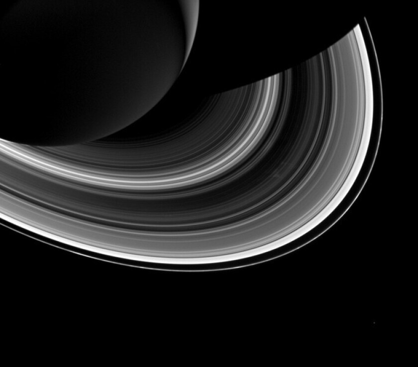 Saturn's rings, captured by NASA's Cassini spacecraft. The F-ring is on the outer edge of the system.