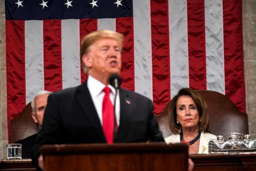 US President Donald J. Trump delivers the State of the Union address, with Vice President Mike Pence and Speaker of the House Nancy Pelosi at the Capitol in Washington, DC, USA, Feb. 05, 2019. EPA-EFE/Doug Mills / POOL