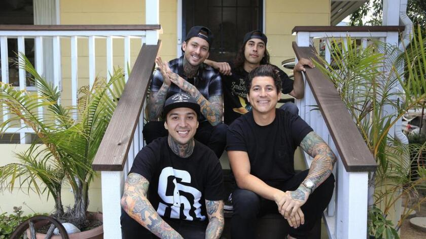 May 25th 2016 San Diego_CA_USA | Pierce the Veil members, front left, Tony Perry, Jaime Preciado, rear left, brothers Mike and Vic Fuentes. | Mandatory Photo Credit: Photo by David Brooks / San Diego Union-Tribune_© 2016 San Diego Union-Tribune, LLC (San Diego Union-Tribune)