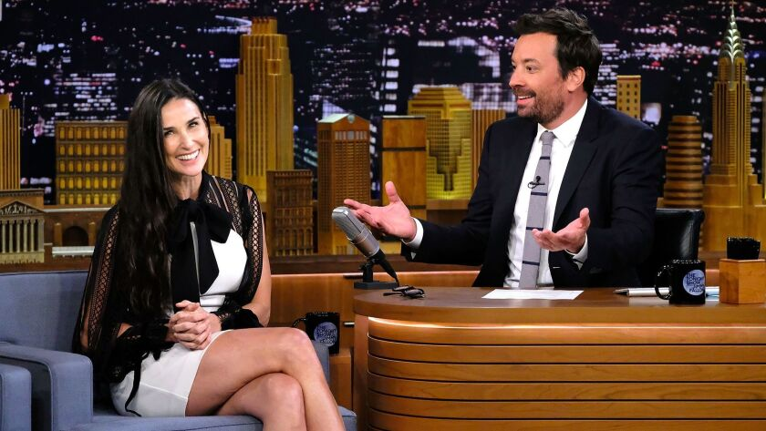 """Actress Demi Moore visits """"The Tonight Show Starring Jimmy Fallon"""" on June 12."""