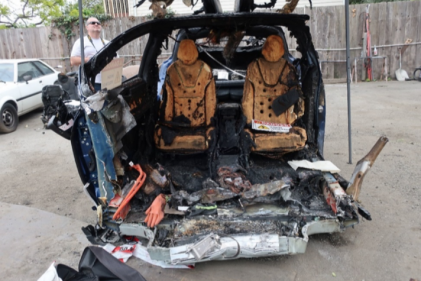 2018 Tesla Model X at a storage yard after fatal March 2018 crash in Mountain