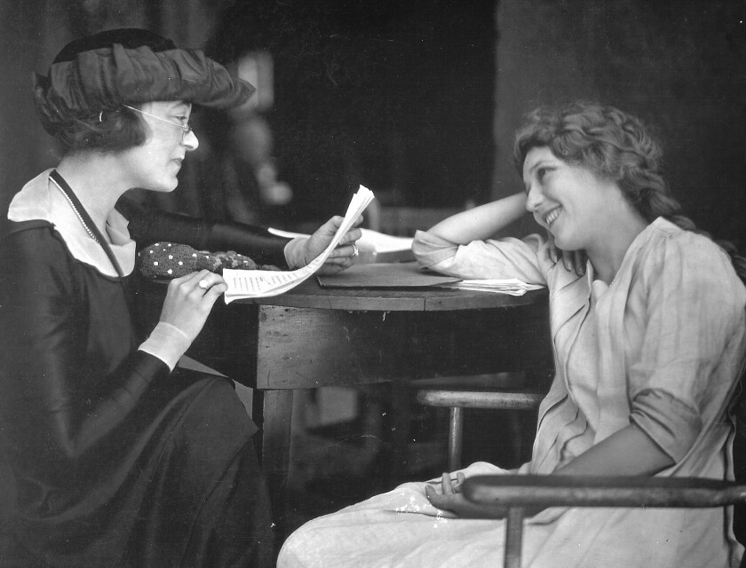 """Frances Marion and Mary Pickford at work on a script from the book """"My First Time in Hollywood: Stories From The Pioneers, Dreamers and Misfits Who Made The Movies: An Anthology."""" Edited and annotated by Cari Beauchamp."""