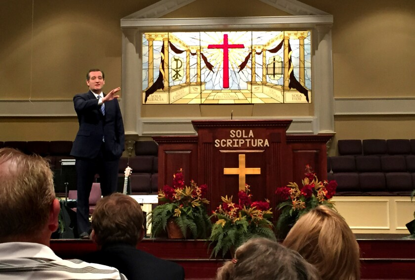 Sen. Ted Cruz shares his testimony and thoughts with the congregation at Community Bible Church in Beaufort, S.C., on Feb. 14.
