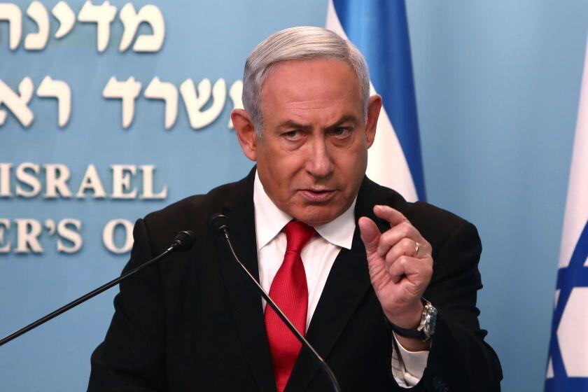 Israeli Prime Minister Benjamin Netanyahu speaks about the coronavirus crisis.