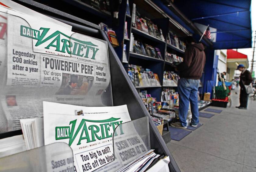 Daily Variety has been a print publication for almost 80 years. Above, a Studio City newsstand has issues for sale.