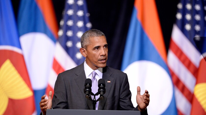 President Obama speaks Tuesday in Vientiane, Laos.