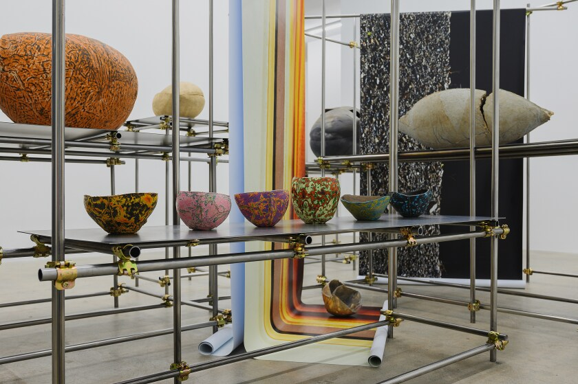Keita Matsunaga's ceramics have been installed at the L.A. gallery Nonaka-Hill on a scaffolding that mirrors the architectural nature of the work.