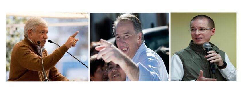 Combo de fotografías de los candidatos a la presidencia de México en las próxima elecciones de julio 2018, Andrés Manuel López Obrador (i) por el partido Morena-Pes-Pt, José Antonio Meade (c) por el Pri-Pvm-Panal y Ricardo Anaya (d) por el Pan-Prd-Mc. EFE/Archivo